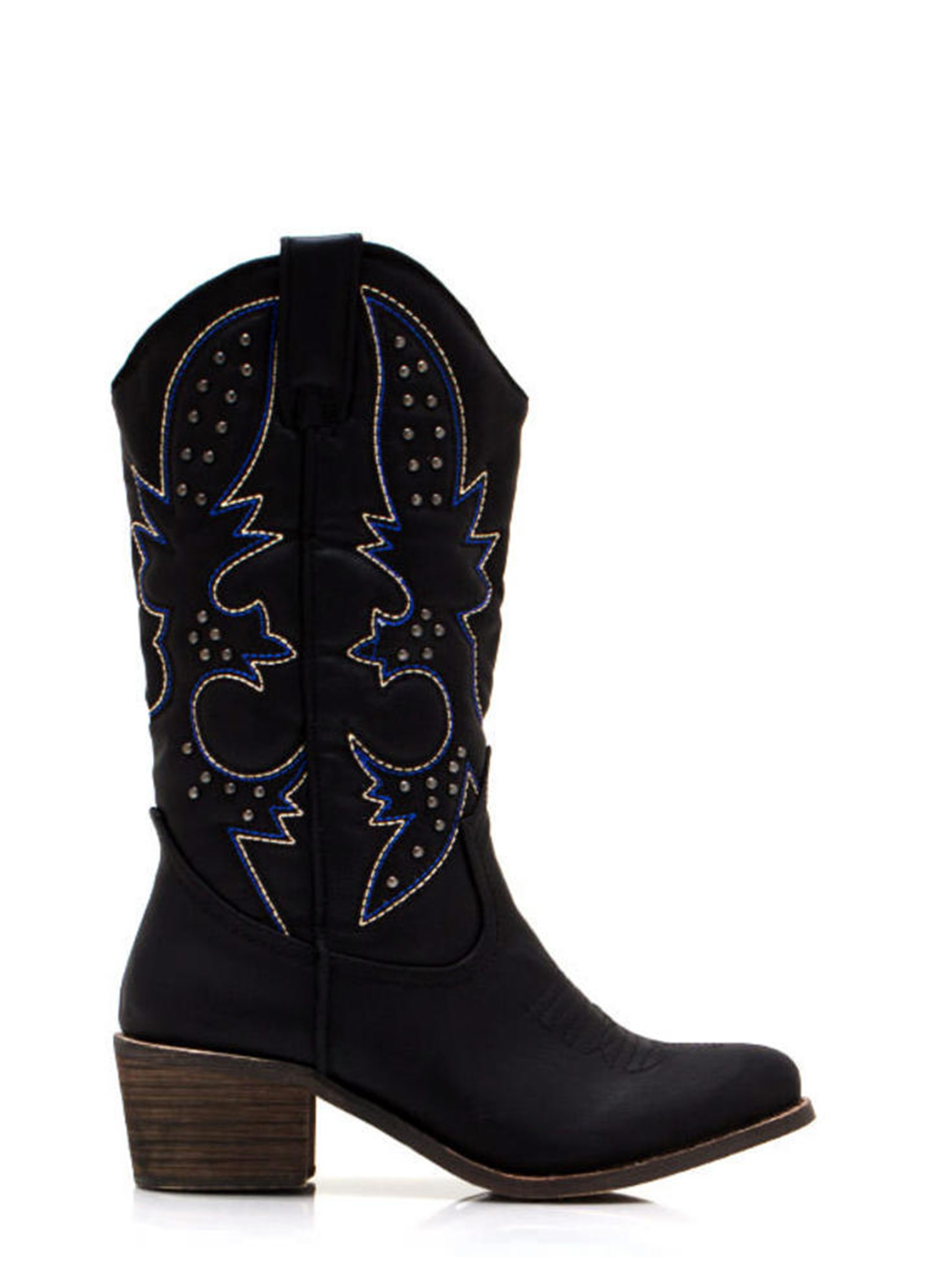 Get Stitches Studded Cowgirl Boots BLACK