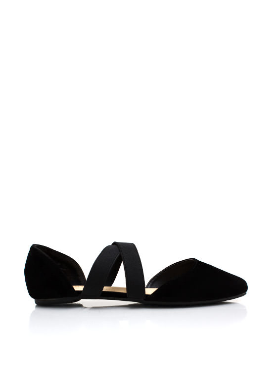 Crossing Lines Pointy Toe Flats BLACK
