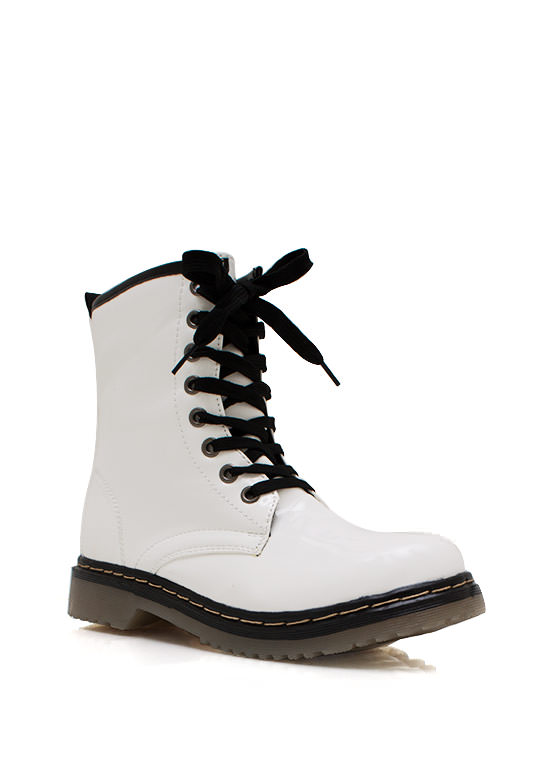 Faux Patent Lace Up Boots WHITE