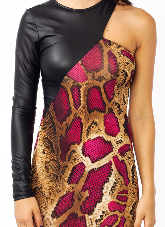 Slithering Asymmetrical Dress MAGENTA