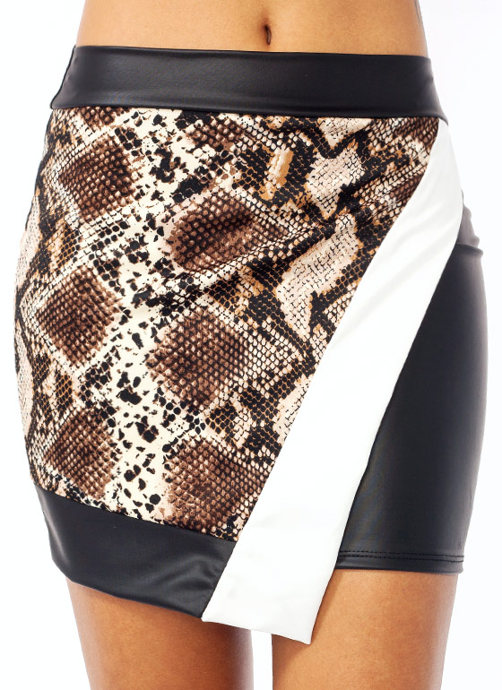 Slithering Faux Leather Mini Skirt BLACKBROWN
