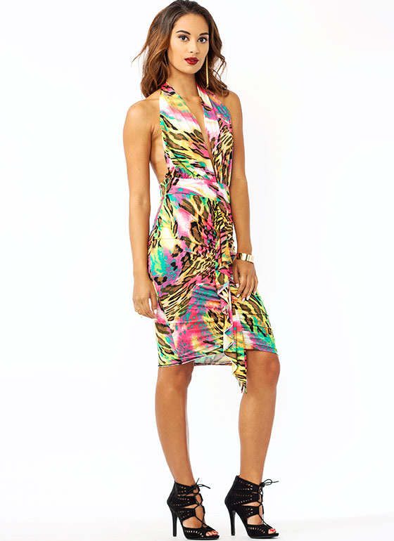 Wild And Out Ruffled Halter Dress PINKMULTI