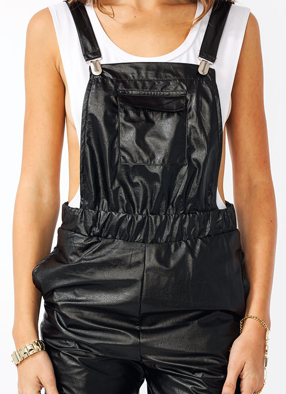 Overall Winner Faux Leather Jumpsuit BLACK