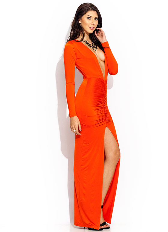 Ruche Hour Plunging Maxi Dress RUST