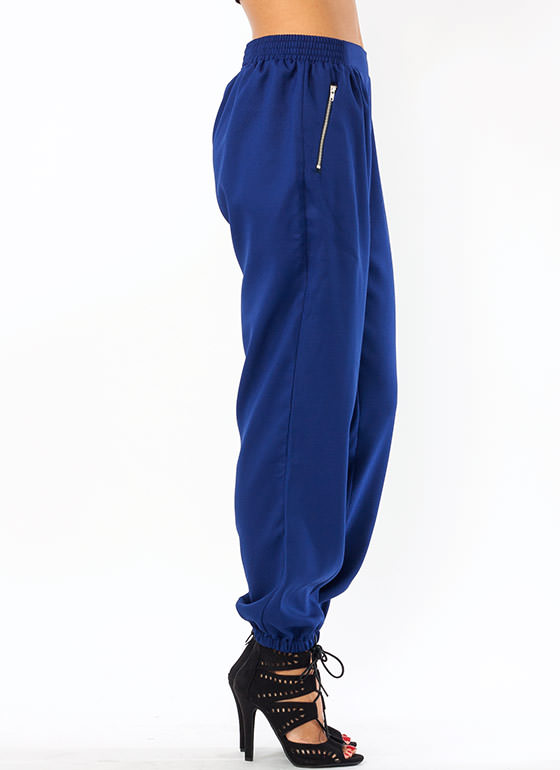 Zip Around Pleated Joggers ROYAL