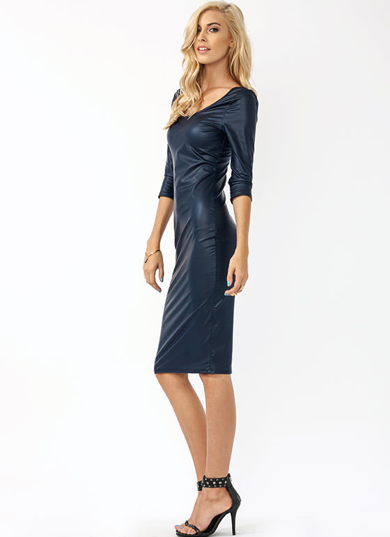 Two Scoops Faux Leather Midi Dress NAVY