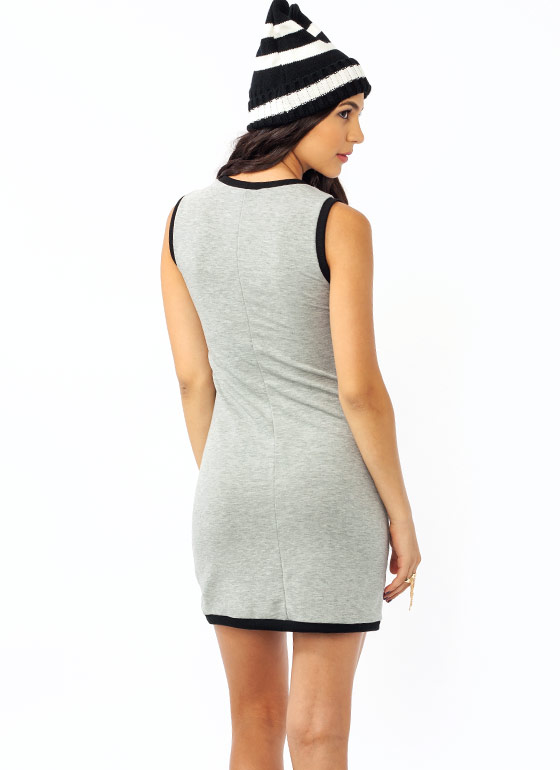 Safety In Numbers Jersey Dress HGREYBLACK