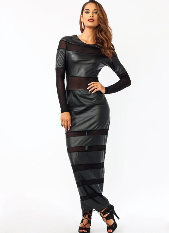 Mesh N Faux Leather Maxi Dress BLACK