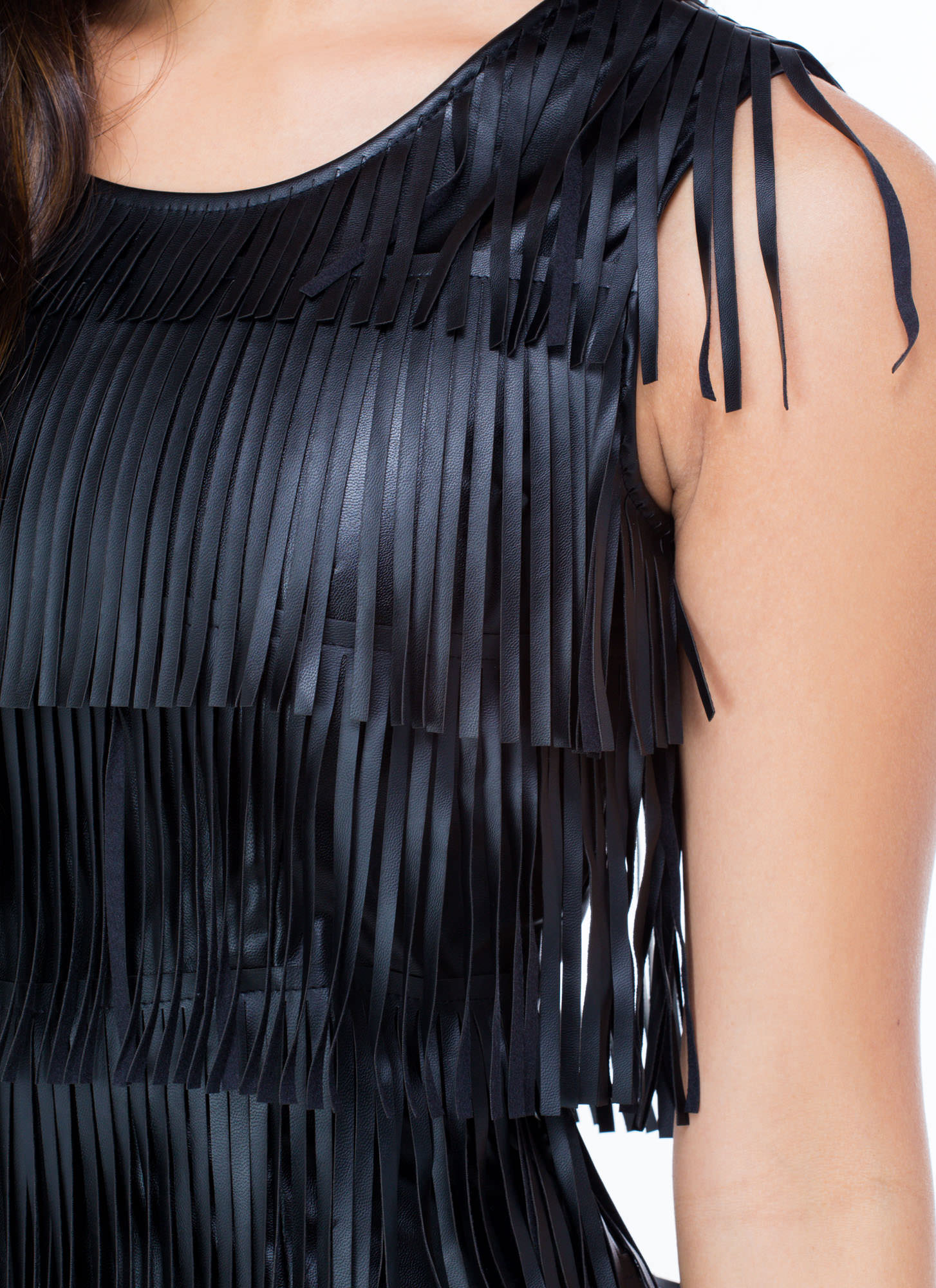 Fringe Benefits Faux Leather Dress BLACK