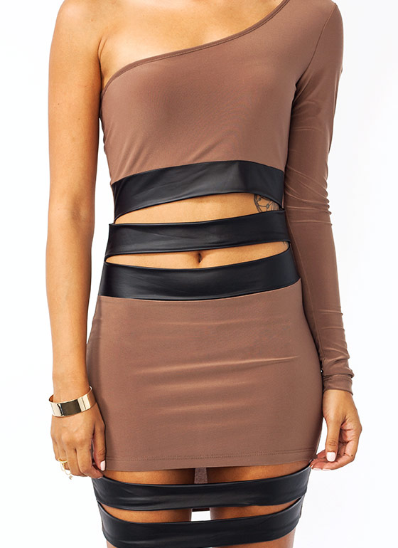 Peek A Boo One Shoulder Dress MOCHA