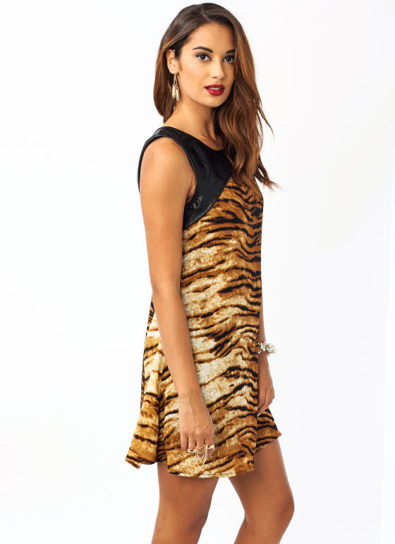 Bengal N Faux Leather Dress CAMEL