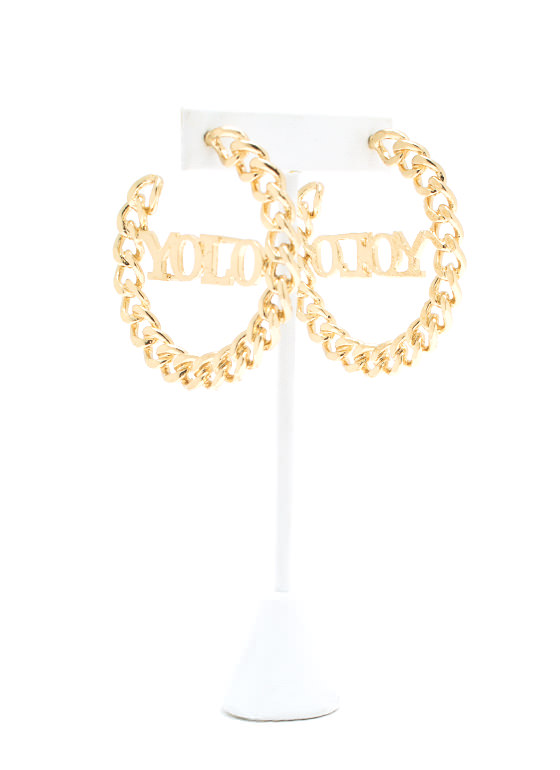 Yolo Chain Link Hoop Earrings GOLD