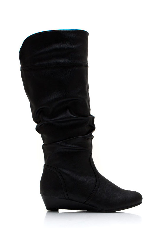 A Little Wedge Slouchy Boots BLACK