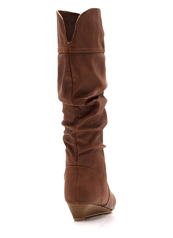 A Little Wedge Slouchy Boots CHESTNUT