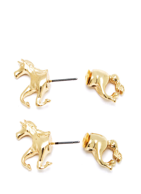 Untamed Unicorn Faux Plug Earrings GOLD