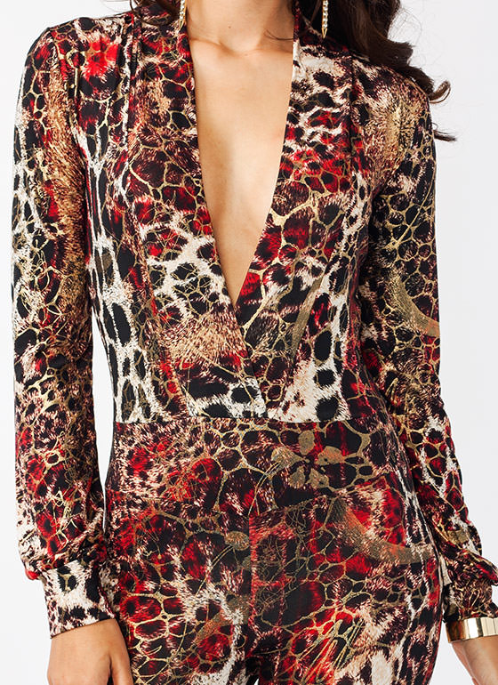 Shining Leopard Jumpsuit BLACKRED
