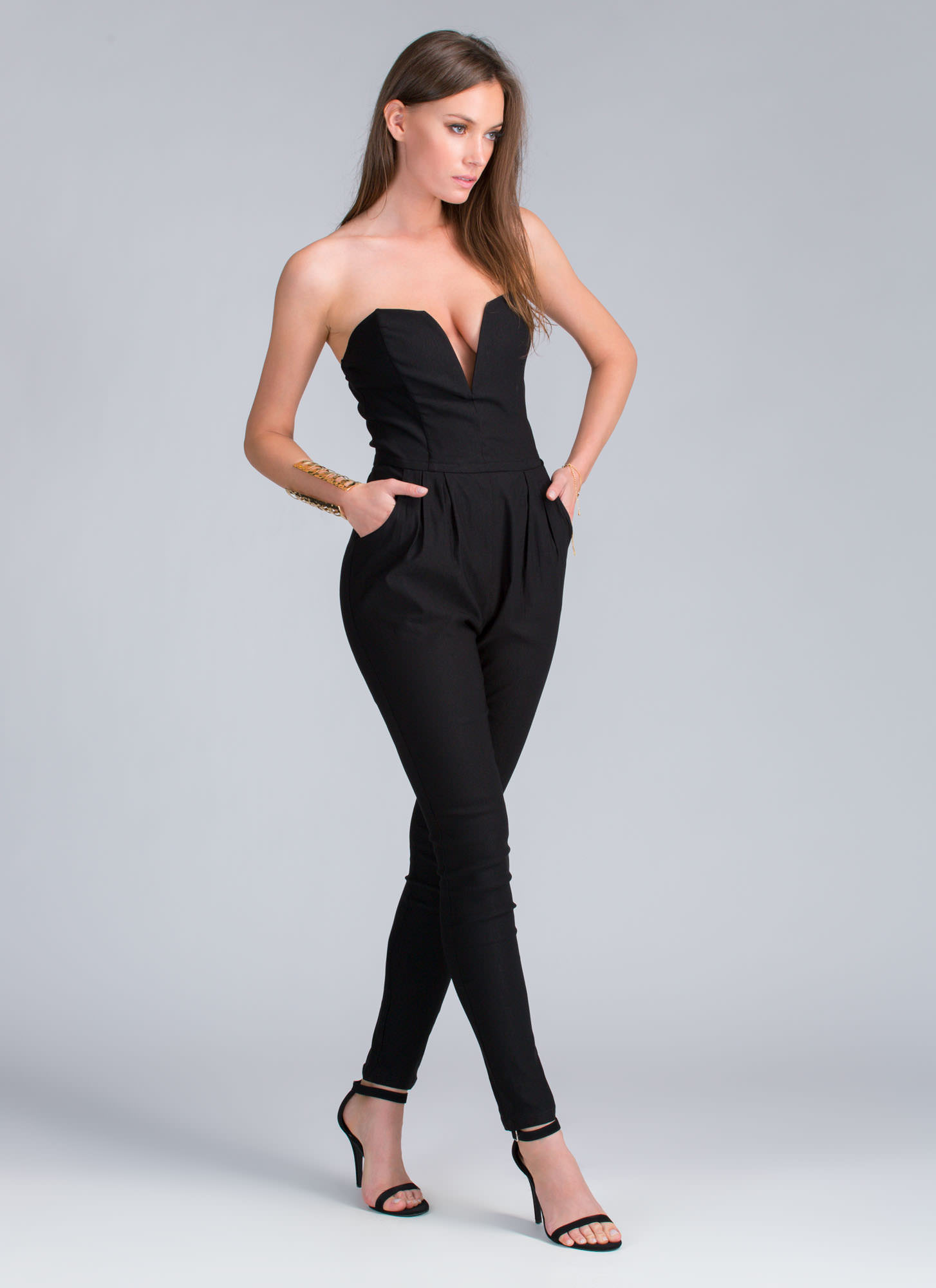 Take The Plunge Strapless Jumpsuit BLACK