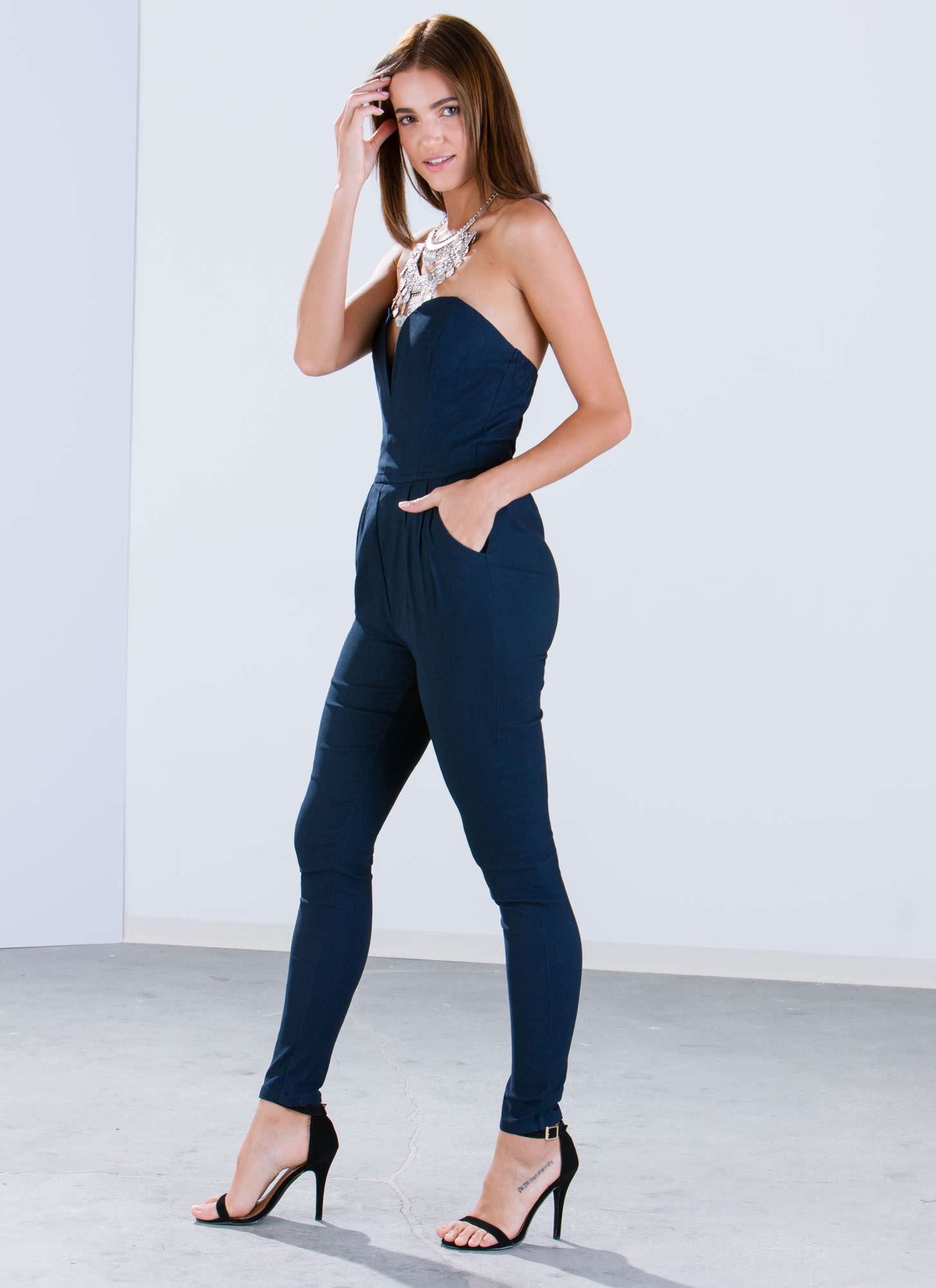 Take The Plunge Strapless Jumpsuit NAVY