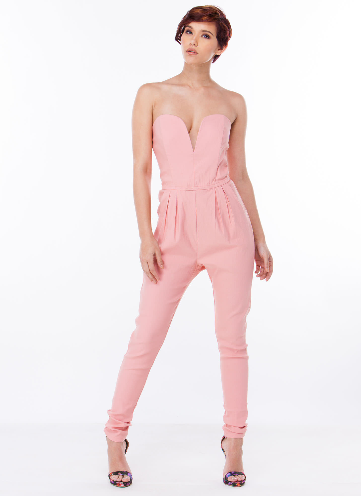 Take The Plunge Strapless Jumpsuit PINK