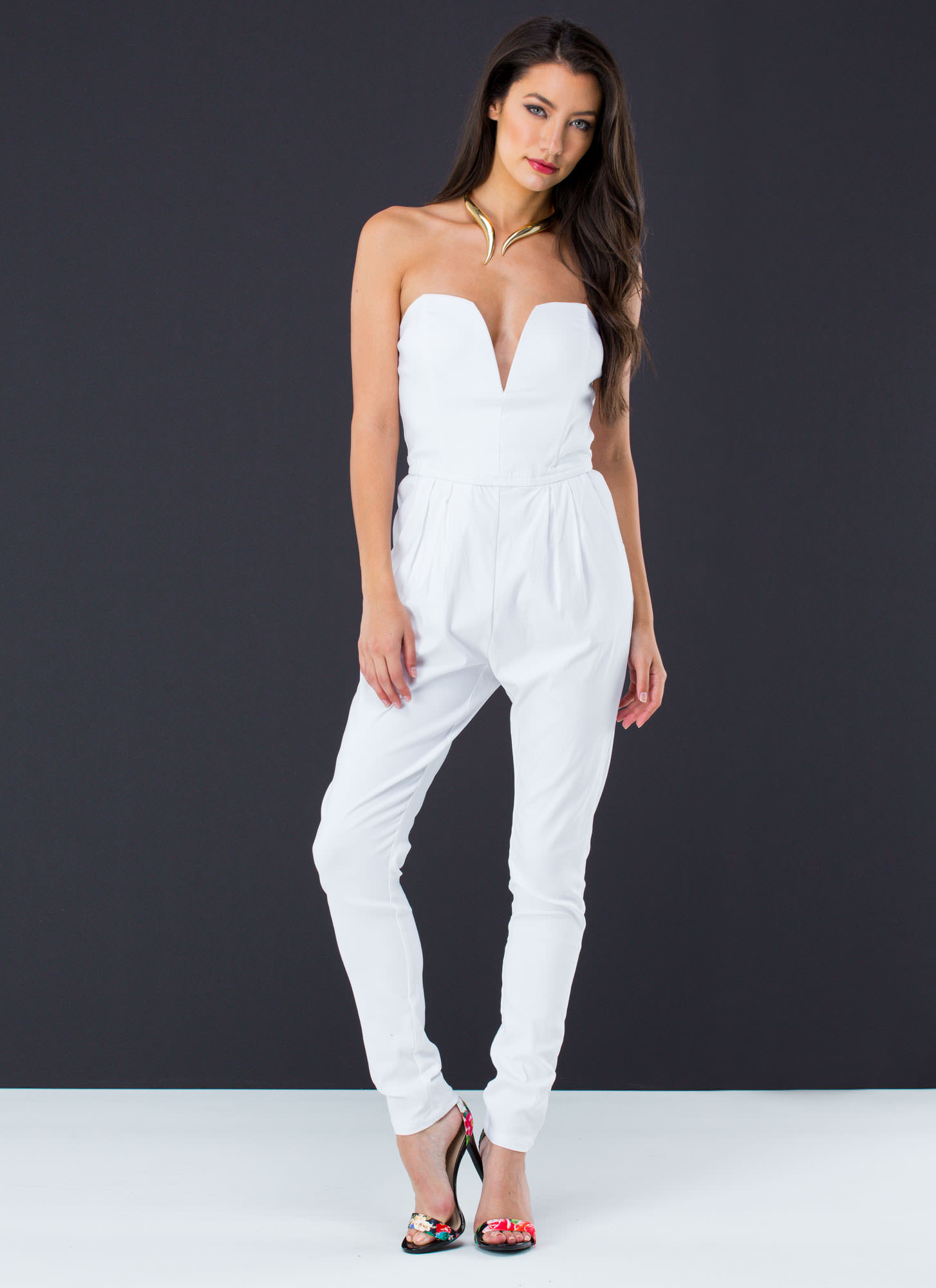 Take The Plunge Strapless Jumpsuit WHITE