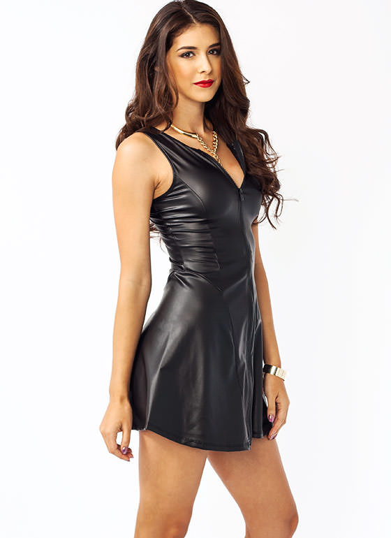 Flare Enough Faux Leather Dress BLACK