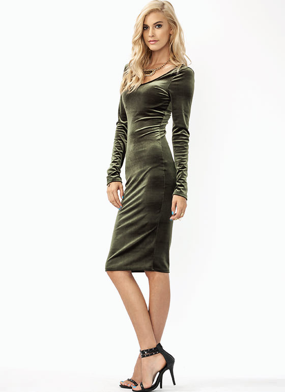 Get The Scoop Velvet Dress OLIVE