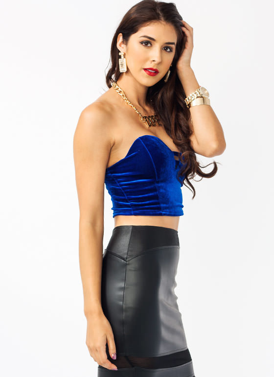 Velvet Sweetheart Tube Top ROYAL