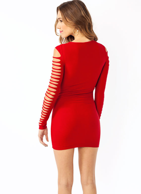 Slashed Bodycon Dress RED