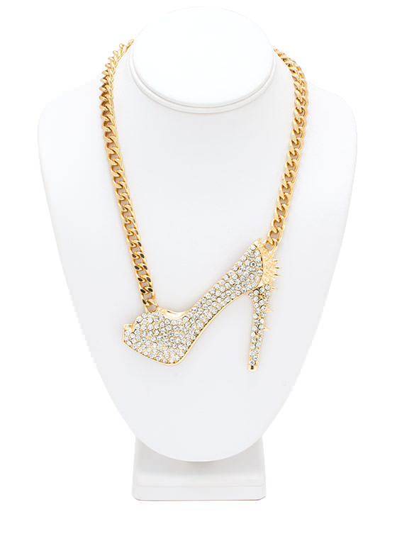 Fancy Footwork Rhinestone Necklace GOLD