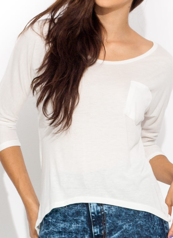 $2 Basic Babe High-Low Tee IVORY