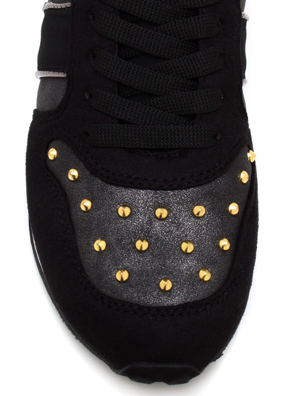 Colorblock It Off Studded Sneakers BLACK