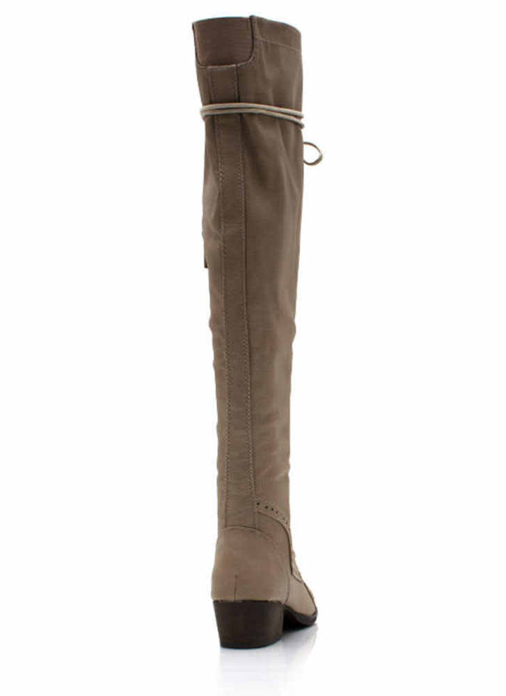 Wing Tip Knee High Boots BEIGE