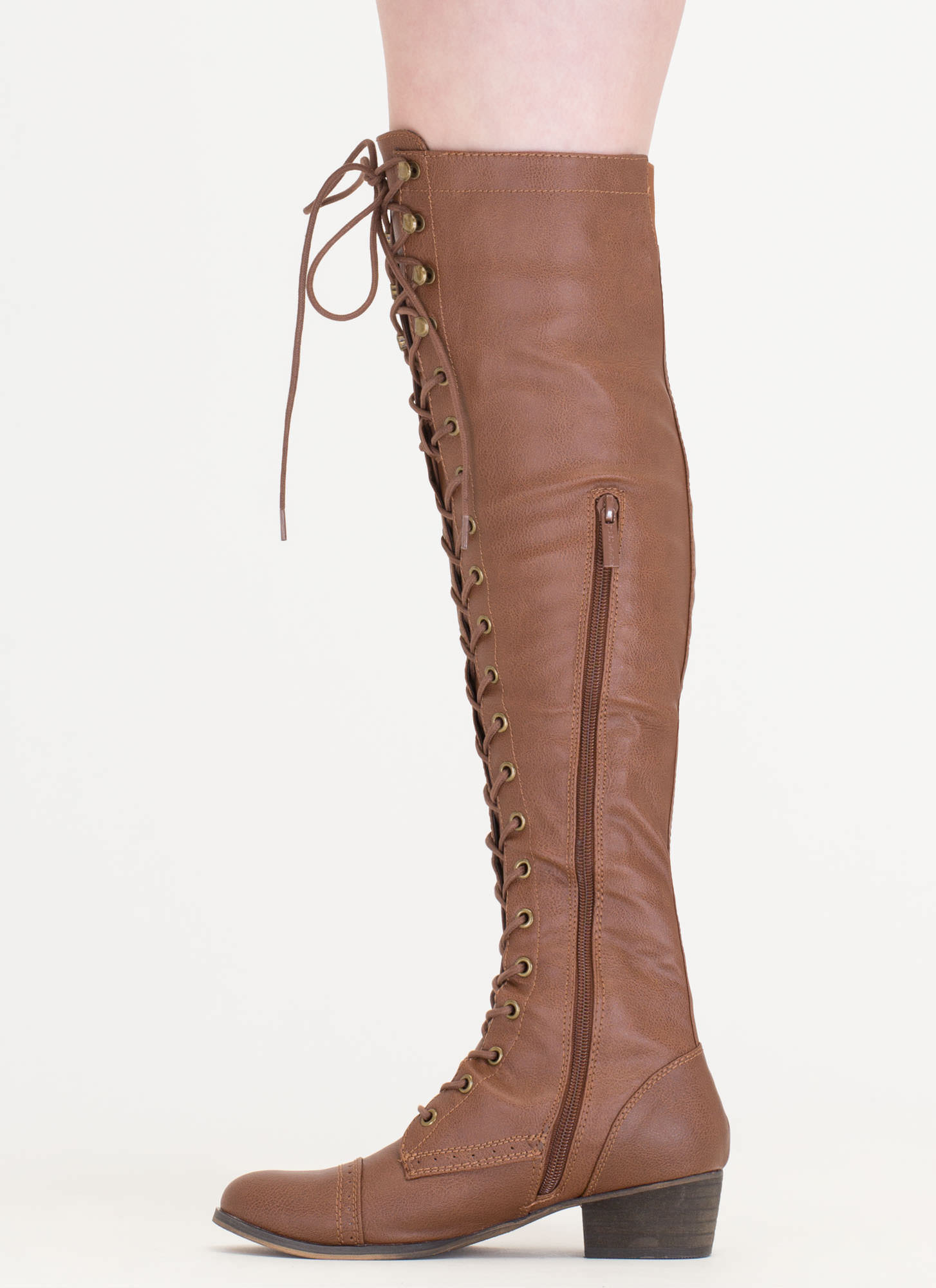 Wing Tip Knee High Boots TAN