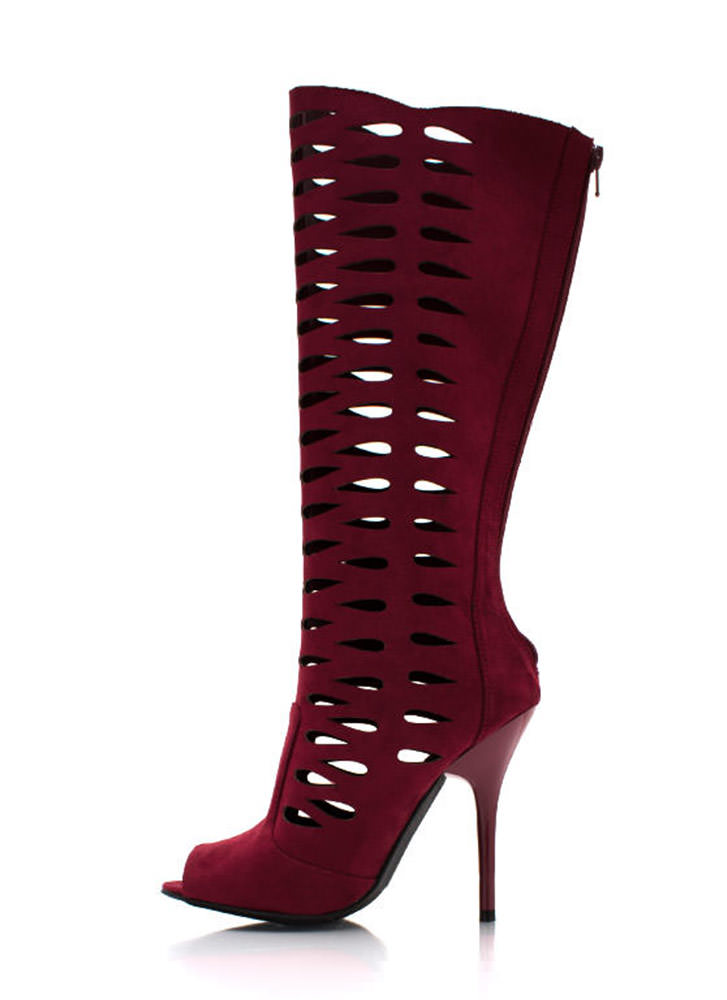No Tears Faux Suede Boots BURGUNDY