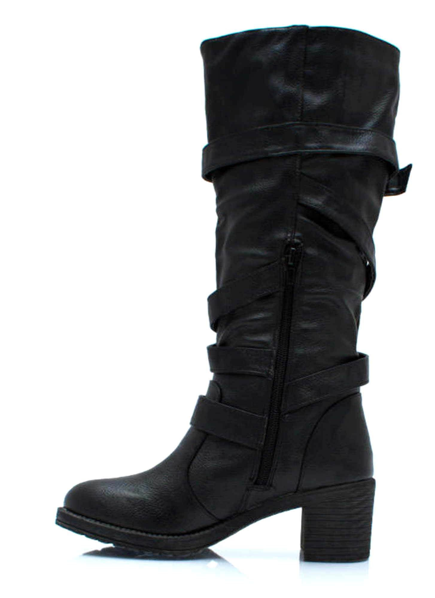 Straparound And Round Buckled Boots BLACK