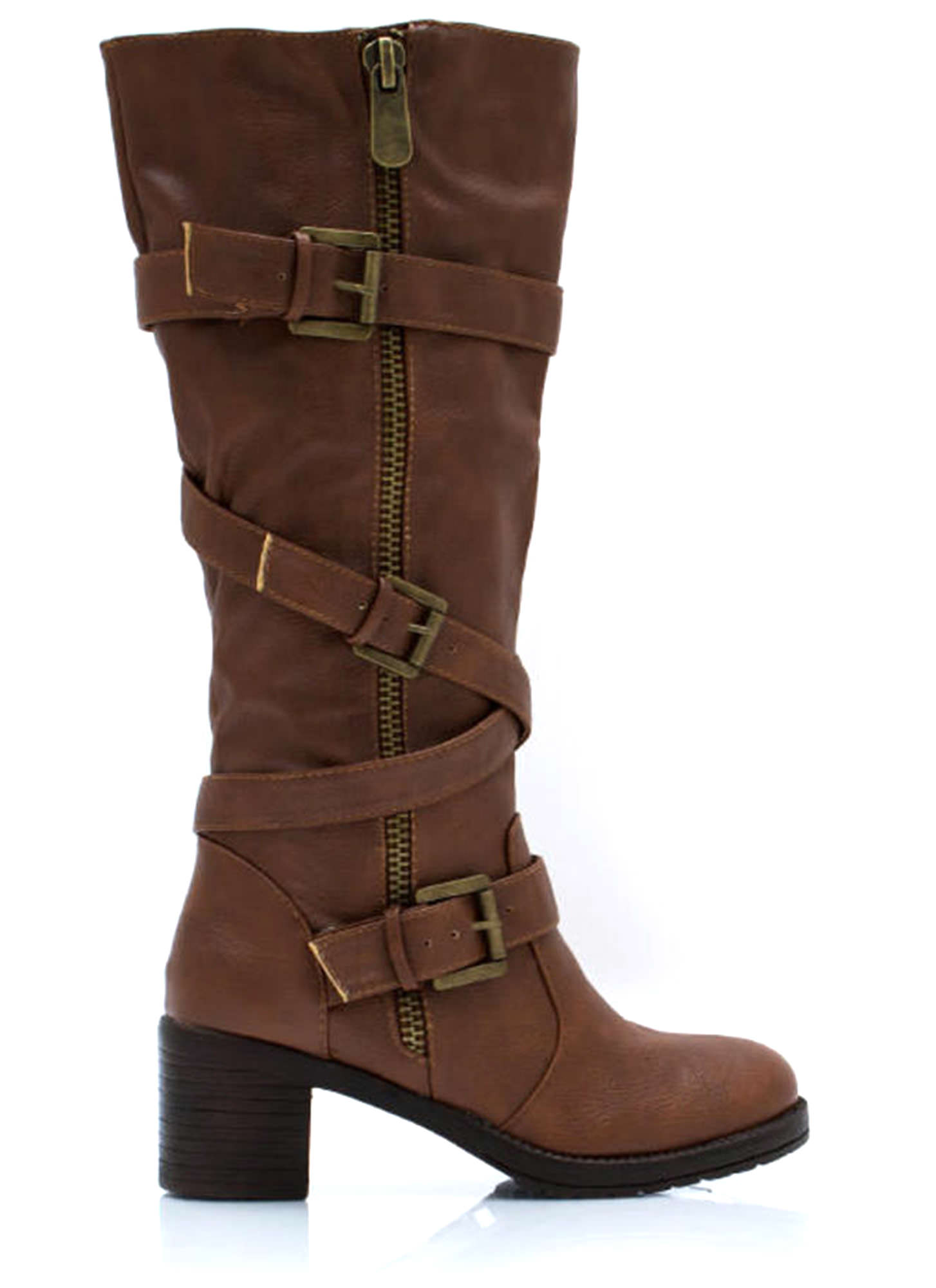 Straparound And Round Buckled Boots CHESTNUT (Final Sale)
