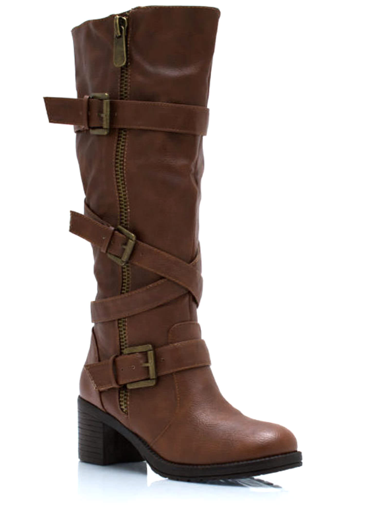 Straparound And Round Buckled Boots CHESTNUT