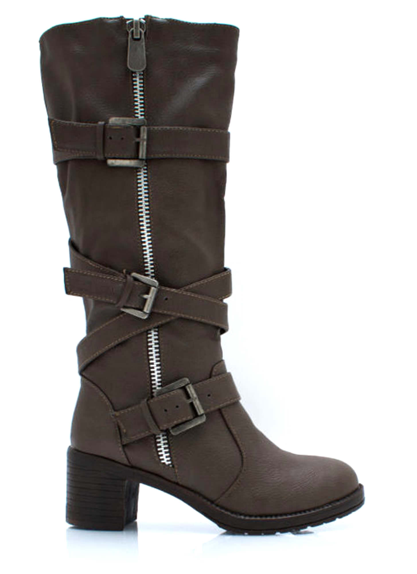Straparound And Round Buckled Boots TAUPE (Final Sale)