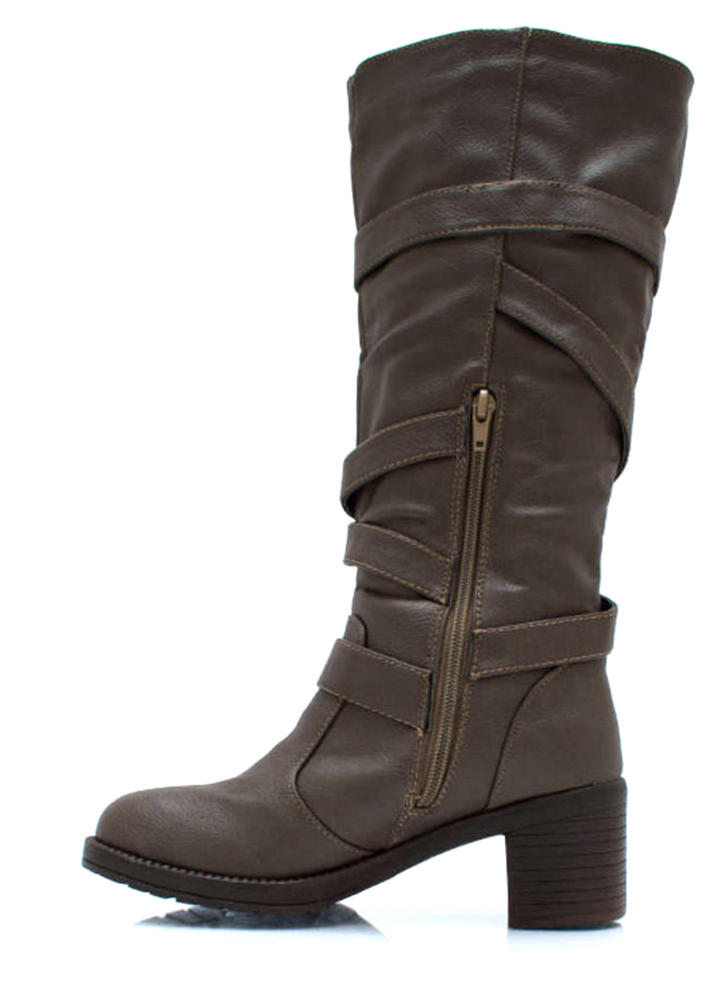 Straparound And Round Buckled Boots TAUPE