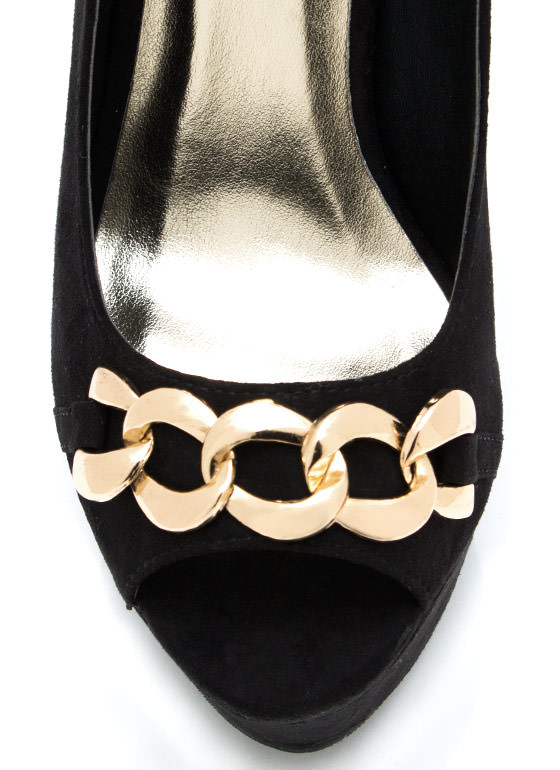 Let Me Link Peep Toe Platforms BLACK