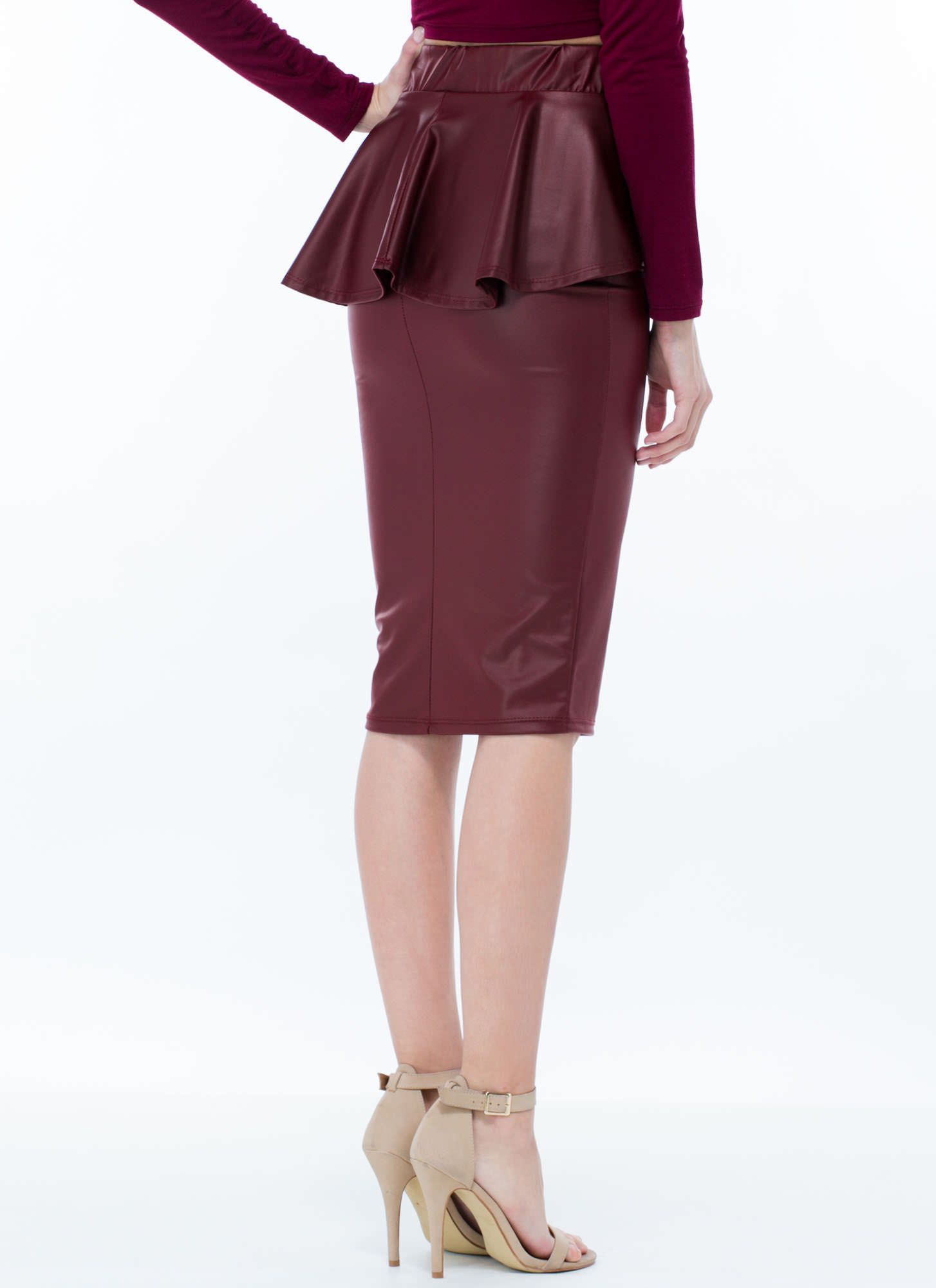 Faux You Peppy Pencil Skirt BURGUNDY
