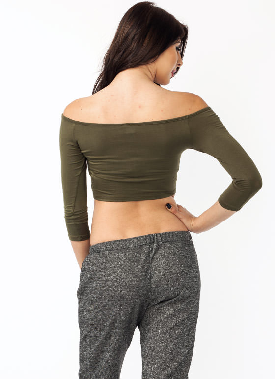 $2 Lost My Keyhole Cropped Top OLIVE