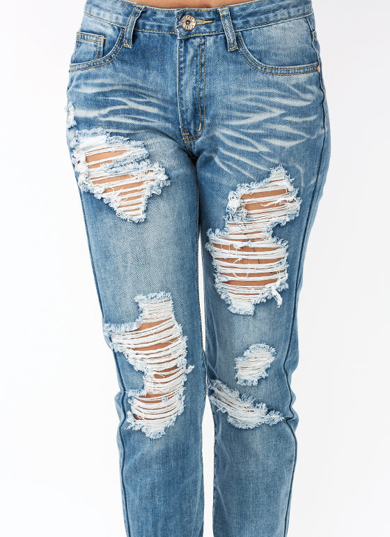 Hole Story Destroyed Boyfriend Jeans BLUE