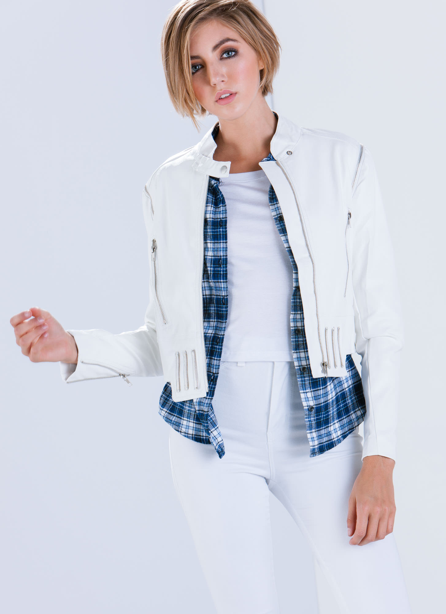 Zip Strip Convertible Moto Jacket WHITE