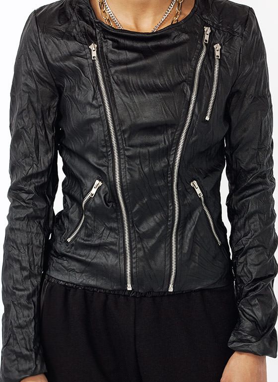 Do Not Iron Crinkled Moto Jacket BLACK