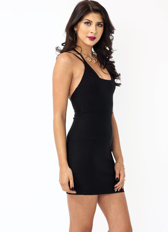 Squared Cage Bodycon Dress BLACK