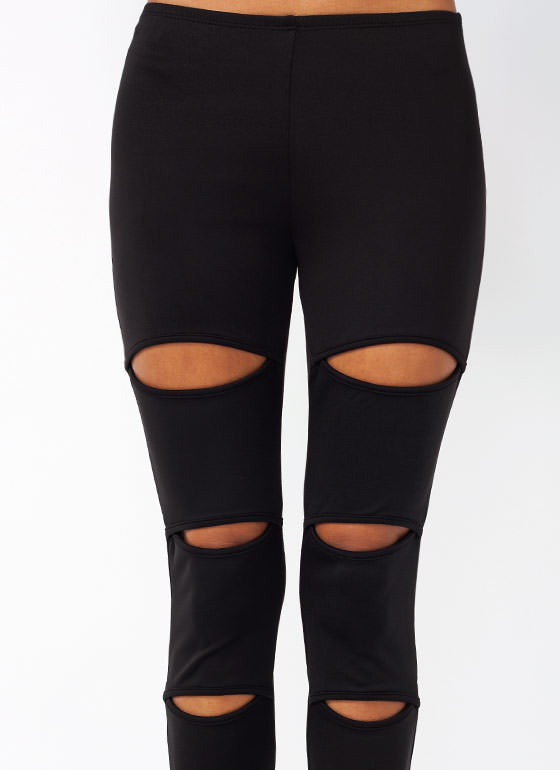 Slash Cut Out Leggings BLACK