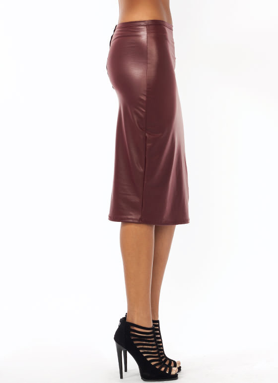 Zip Back Pencil Skirt BURGUNDY