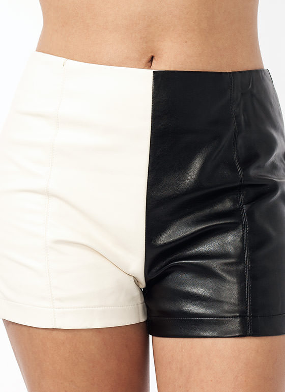 Two Tone Faux Leather Shorts CREAM