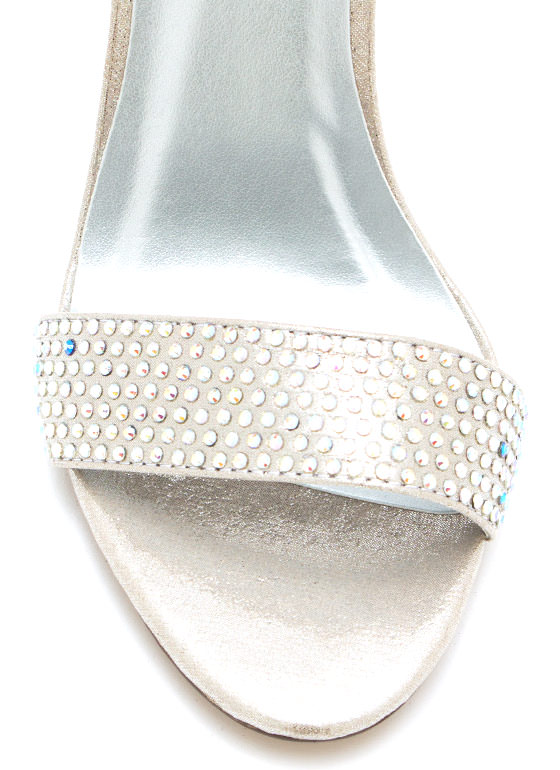 Metallic Bejeweled Strappy Heels SILVER
